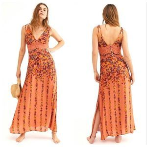 NEW Free People Claire Printed Slip Maxi Dress Sm